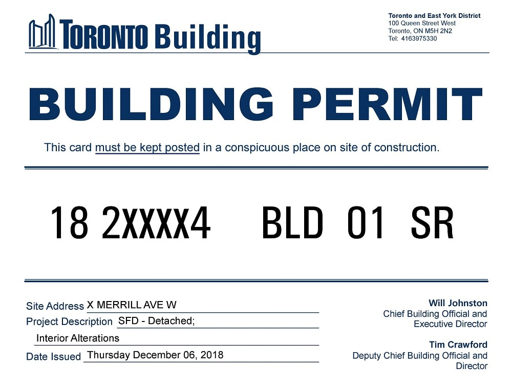 building permit toronto